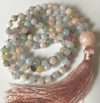 Aquamarine Beryl Morganite Natural stone beads mala cuff 108 meditation necklace