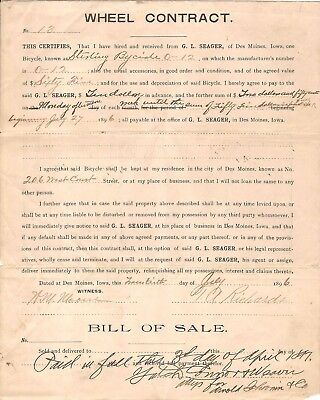 Wheel Contract Bill of Sale Sterling Bicycle Antique Lay Away Plan 1896 Original