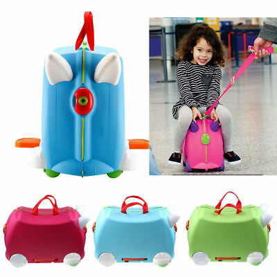 New Trunki Ride On Suitcase Toy Box Children Kids Luggage Case Blue / Rose Red