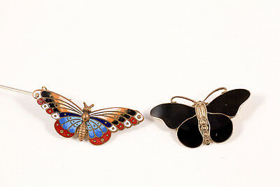 Lot 2 VTG Butterfly Enamel Pins for Parts or Repair Sterling Silver Gilt & Brass