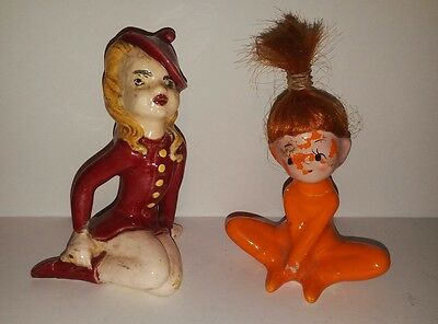 Vintage Ceramic 50's Napcoware Elf Pixie Girl figurines Japan
