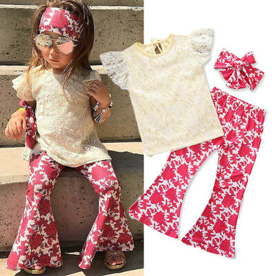 US STOCK Toddler Kids Baby Girl Lace Tops Floral Pants Headband Outfits 3Pcs Set
