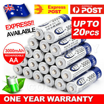 OZ 4-20X BTY AA Rechargeable Battery Recharge Batteries 1.2V 3000mAh Ni-MH AU