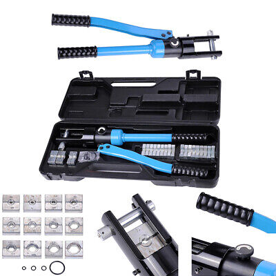16 Ton 12 Dies Hydraulic Crimper Crimping Tool Wire Battery Cable Lug Terminal