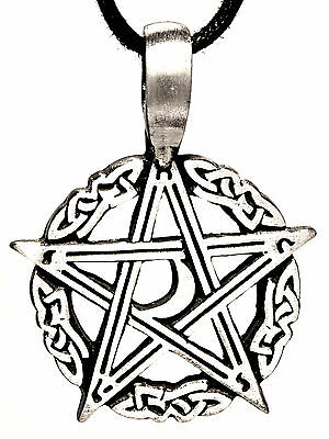 Pentagram Guardian Magic Protective Amulet Pendants Pewter Band / Necklace 72