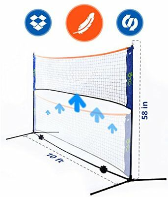 10 Foot Long Badminton Volleyball or Tennis portable Net Stand for Family Sport