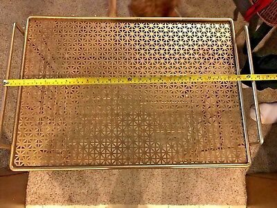 Vtg Mid Century Album Record Player Stand / Holder, Punched Mesh, original paint