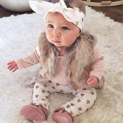 Newborn Baby Girls Outfit Clothes Romper Shirt Tops + Pants + Headband 3PCS 1Set