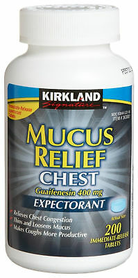 200 - 800 Tablets Kirkland MUCUS RELIEF CHEST EXPECTORANT Guaifenesin 400mg