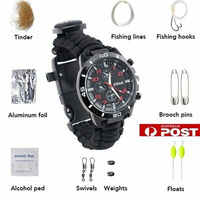 Survival Watch Bracelet Compass Fire Starter Paracord Rope Whistle Buckle Set FK