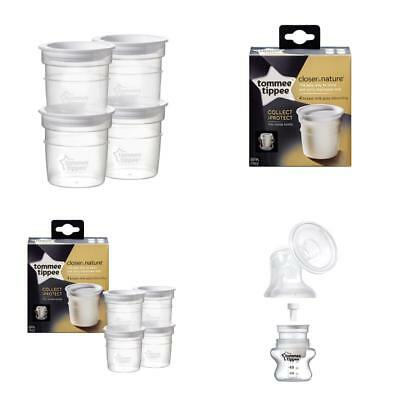 Transparent Breastmilk Milk Storage Pots 4pack Tommee Tippee Baby Nursing NEW
