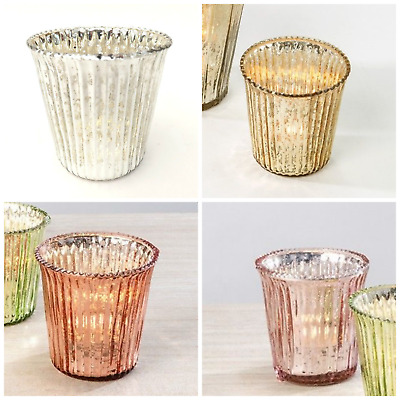 Pretty Ribbed Mercury Glass Tea Light Holders, Silver, Gold, Rose Gold & Pink