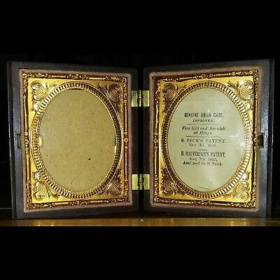 Antique Victorian Era Unused Double 9th Plate Thermoplastic Case For Dags/Ambros