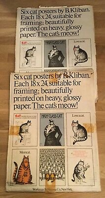 Vtg 70s LOT of 11 Hippy Throwback 6 Kliban Cat Posters Art Print Mice Mom Love +