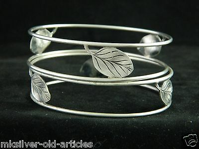 Vintage Solid Silver Pair Of Napkin Ring Or Hand Cuff Bracelet Stamped '800'