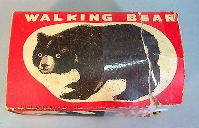 Vintage Walking Bear Wind Up Toy in Original Box--Made in Occupied Japan