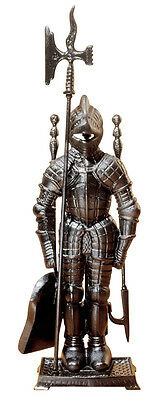 """Medieval Knight Fireplace Solid Cast Iron Tool Ensemble 29"""""""