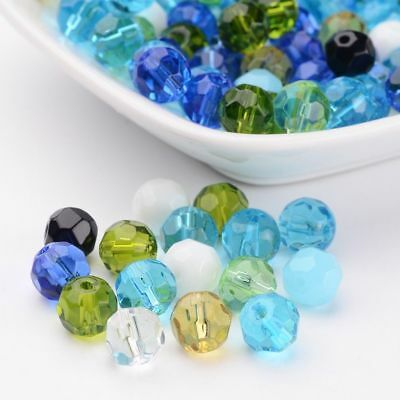 100pcs Faceted Crystal Glass Round Jewelry Beads Mixed Color 8mm