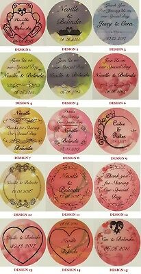 Colour Transparent or Gold Personalised Wedding Bomboniere Round Envelope Labels