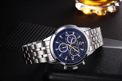 Men Classical Black Date Quartz Quality  leather Stainless Steel Wrist Watch