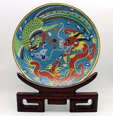 Fine Antique 19Th C. Qing Chinese Gilt Metal Cloisonne Enamel Charger Plate