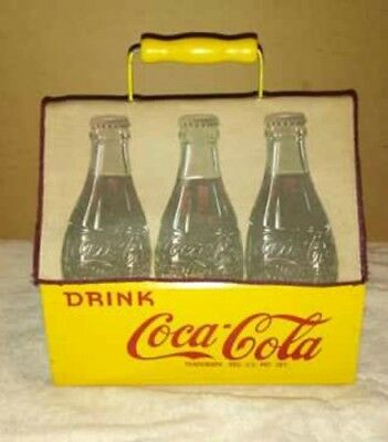 Vintage Wood Coca Cola Carrier 6 Pack Coke Caddy War Wings Yellow Cloth Cover