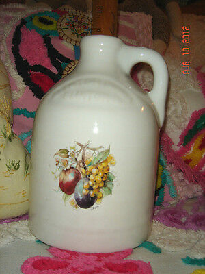 Vtg Antique Estate Mint French Country White Fruit Decal Pottery Big Heavy Jug