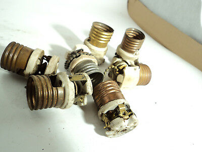 Lot of 7 antique porcelain pull chain socket interiors lamp light part not worki