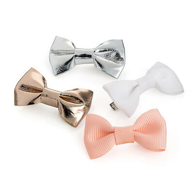 Pack of 4 Metallic and Plain Mini Hair Bow Clips Baby Hair Bows Clips Slides