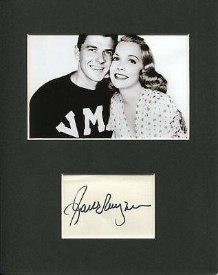Jane Wyman The Yearling Star Signed Autograph Photo Display W/ Ronald Reagan