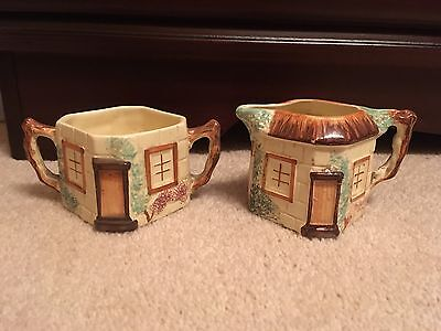 Extremely RARE 'House' Milk Jug And Sugar Bowl By Keele Pottery