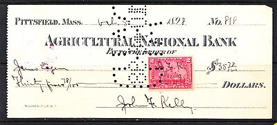 Us Pittsfield Mass Bank Slip R164  Agricultural National Bank 1898  H921
