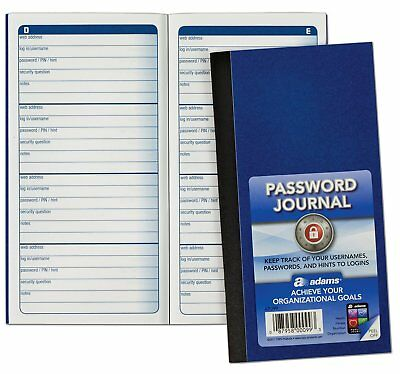 "Password Journal 6.25 x 3.25"" Internet Address Book Organizer Safety Diary Gifts"