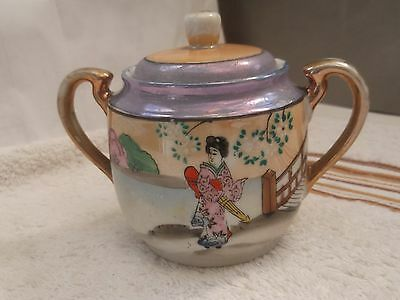 ? Vintage Hand - Painted Japanese Twin - Handled Lidded Sugar Bowl