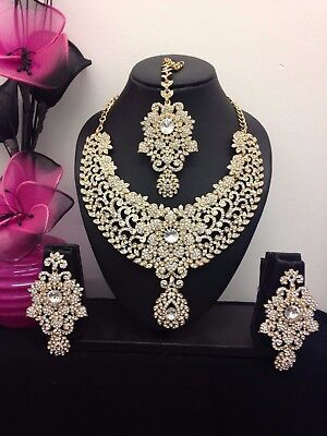 Necklace Set Earrings tikka  Wedding Indian Bollywood Jewellery Gold Tone -q1