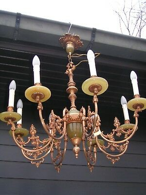 && Fantastic and fine ornated vintage 8lt chandelier  with fake onix parts &&