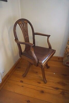 early 20c  Captains / Office Hepplewhite style Swivel Chair  mahogany