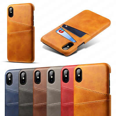 For New Apple iPhone X PU Leather Card Slot Genuine Back Case Luxury Slim Cover