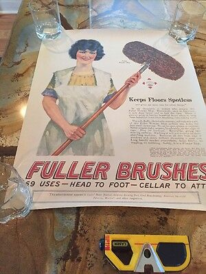 Vintage 1920's Fuller Brush Advertising Poster - 18 X 23 Inches - Approx 1924