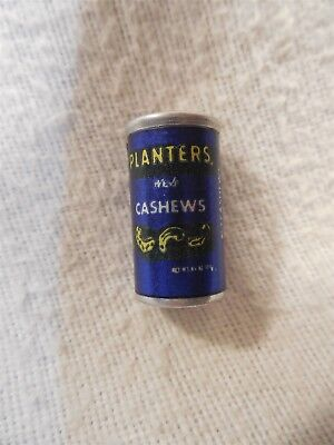 Vintage 1980's Planters Peanut Mr Peanut Miniature Aluminum Whole Cashews Can