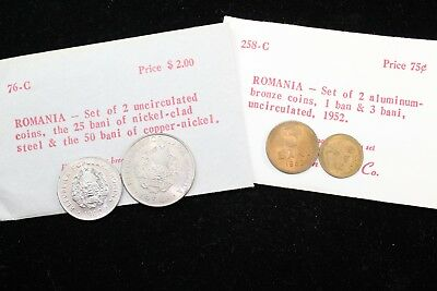 Romania 4 assorted coins (1952, 56, 60)   lot H 492
