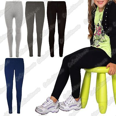 New Girls Kids Plain Full Length Stretchy Skinny Basic Viscose Leggings Trousers