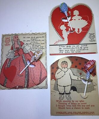 VINTAGE VALENTINES lot of 3 RARE lolly pop cards by Rosen Co, LARGE, 1 IGLOO