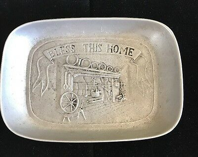 Vintage Pewtarex Pewter Bread Tray Bless This Home Metal Plate Hearth Blessing