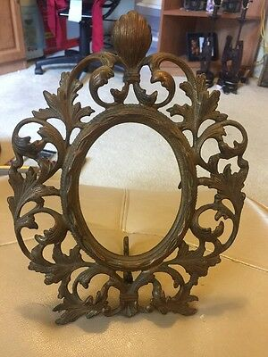 "Vintage Victorian Cast Iron Ornate Gilted Picture Frame 11.5 x 8"" Easel Back"