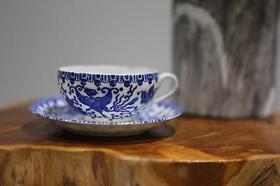 Vintage Phoenix Ware Blue White Porcelain Tea Cup Saucer Set Occupied Japan