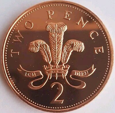 1983 - 2008 Royal Mint Design of Ostrich Feathers Two pence 2p coin Uncirculated