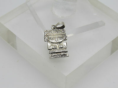 Vintage Signed JEM Mexico Mayan Aztec Figure Detailed Sterling Silver Pendant E
