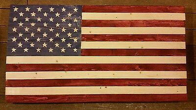 Hand Crafted Wooden Patriotic Rustic American Flag