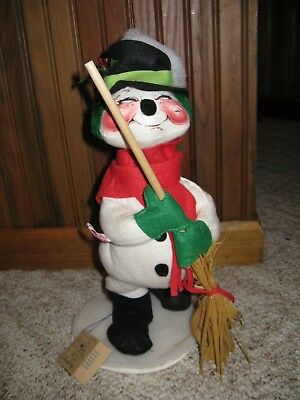 """Annalee Mobilitee Large 14"""" Doll SNOWMAN w/Broom Tags 1992"""
